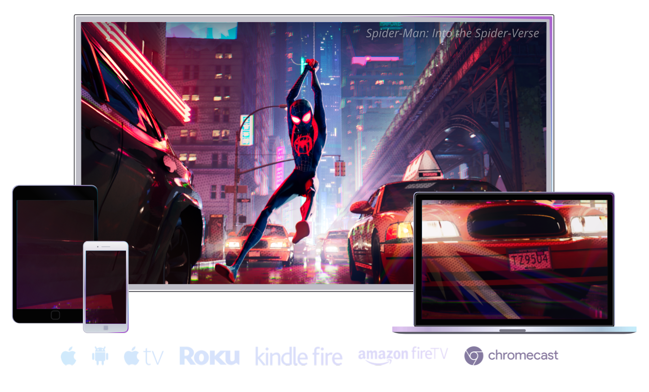 iOS devices, Android devices, Apple TV, Android TV, Roku©, Amazon Fire devices, Amazon Fire TV, Chromecast